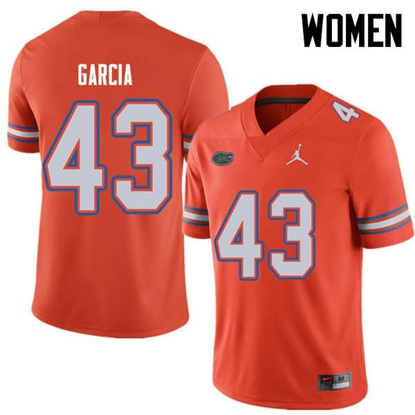 Women's Florida Gators #43 Cristian Garcia Orange Jordan Brand NCAA College Football Jersey OBI306VJ