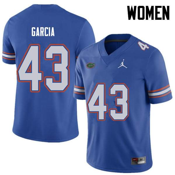 Women's Florida Gators #43 Cristian Garcia Royal Jordan Brand NCAA College Football Jersey MRI241HJ