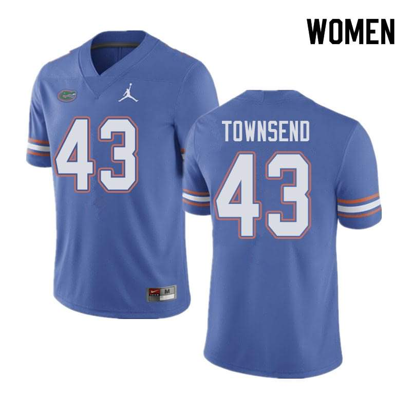 Women's Florida Gators #43 Tommy Townsend Blue Jordan Brand NCAA College Football Jersey CJB785NJ