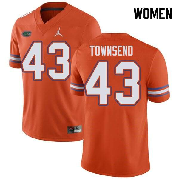 Women's Florida Gators #43 Tommy Townsend Orange Jordan Brand NCAA College Football Jersey DJF051EJ