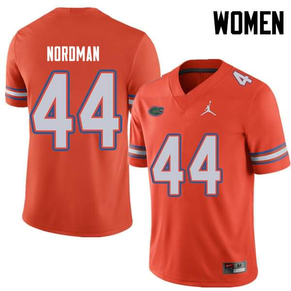 Women's Florida Gators #44 Tucker Nordman Orange Jordan Brand NCAA College Football Jersey WVY537GJ