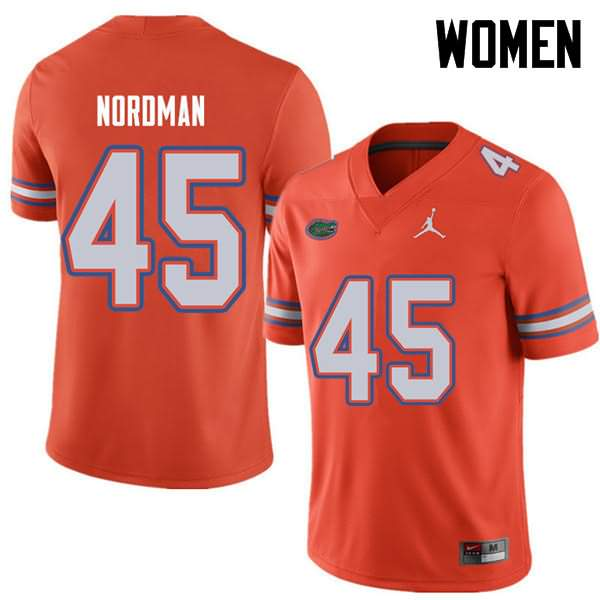 Women's Florida Gators #45 Charles Nordman Orange Jordan Brand NCAA College Football Jersey SMV228PJ