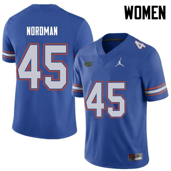 Women's Florida Gators #45 Charles Nordman Royal Jordan Brand NCAA College Football Jersey TQY676MJ