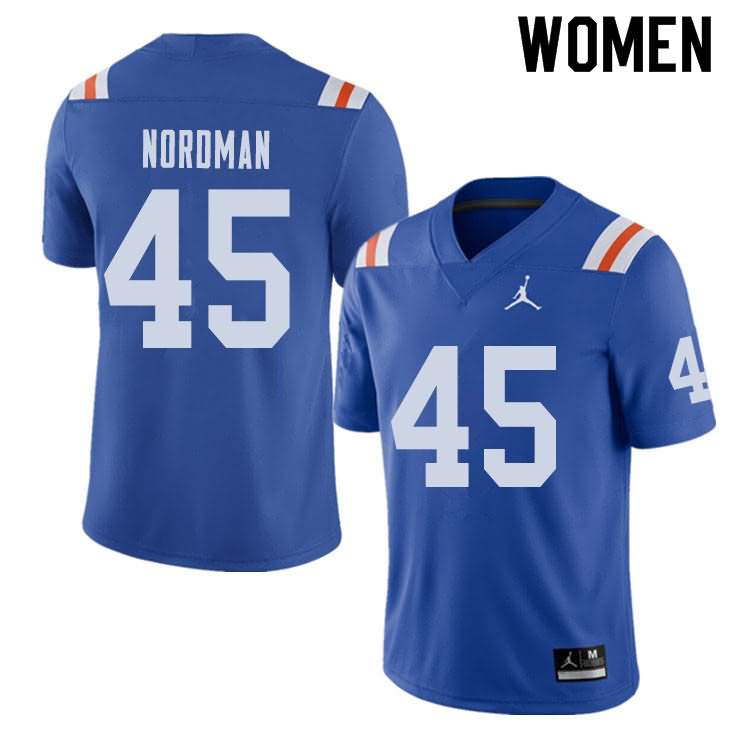 Women's Florida Gators #45 Charles Nordman Alternate Throwback Jordan Brand NCAA College Football Jersey CKK828UJ