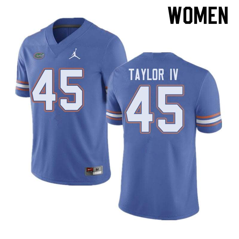 Women's Florida Gators #45 Clifford Taylor IV Blue Jordan Brand NCAA College Football Jersey XSN813YJ