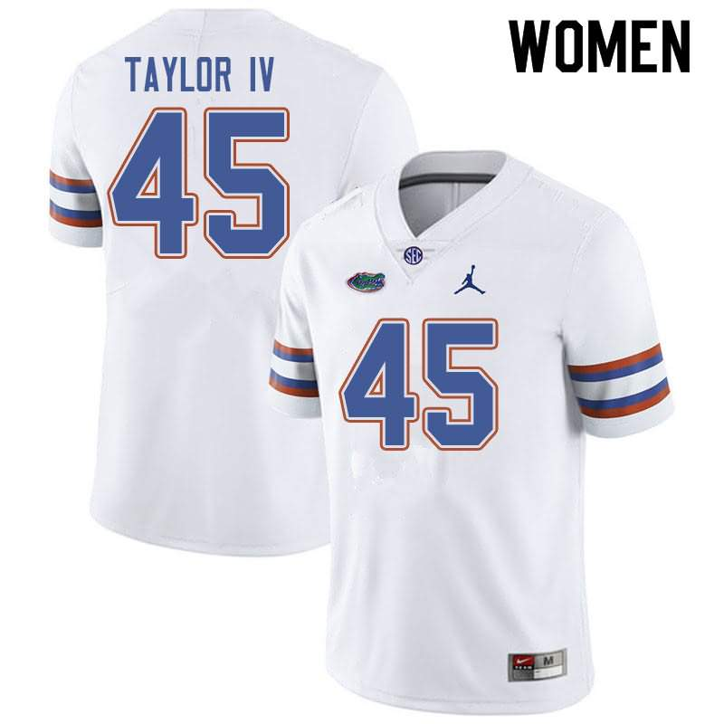 Women's Florida Gators #45 Clifford Taylor IV White Jordan Brand NCAA College Football Jersey YAH458OJ