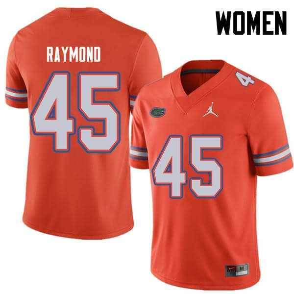 Women's Florida Gators #45 R.J. Raymond Orange Jordan Brand NCAA College Football Jersey BHK654RJ