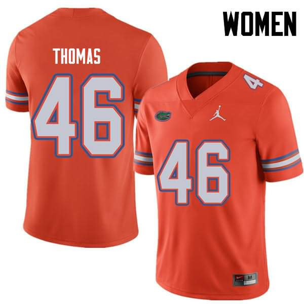Women's Florida Gators #46 Will Thomas Orange Jordan Brand NCAA College Football Jersey ZWP721SJ