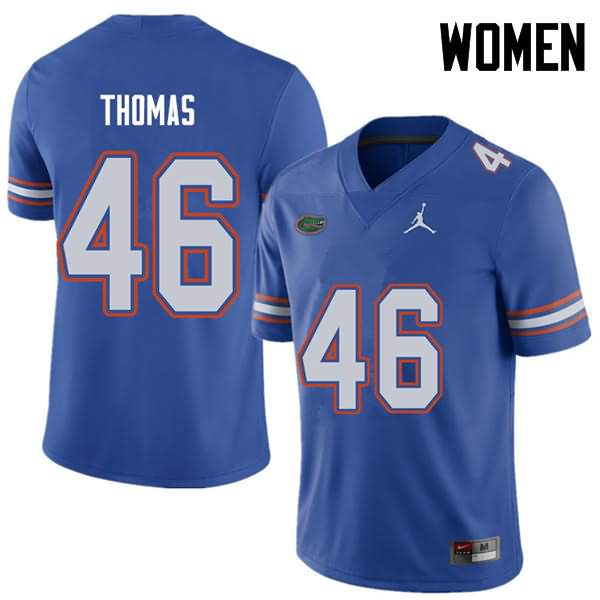 Women's Florida Gators #46 Will Thomas Royal Jordan Brand NCAA College Football Jersey WBD363IJ