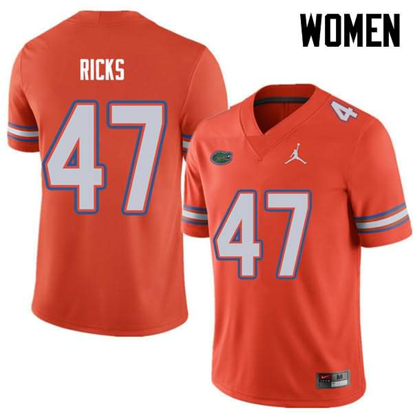 Women's Florida Gators #47 Isaac Ricks Orange Jordan Brand NCAA College Football Jersey MDI108JJ