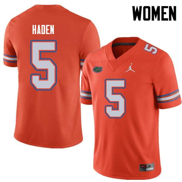 Women's Florida Gators #5 Joe Haden Orange Jordan Brand NCAA College Football Jersey LOW275MJ