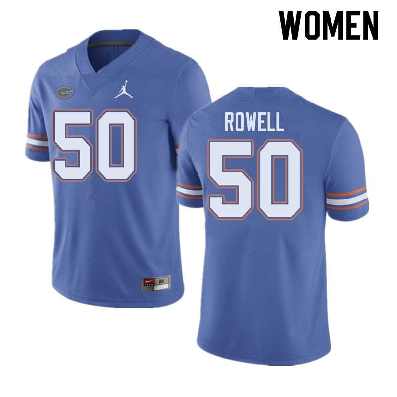 Women's Florida Gators #50 Tanner Rowell Blue Jordan Brand NCAA College Football Jersey WRV182JJ