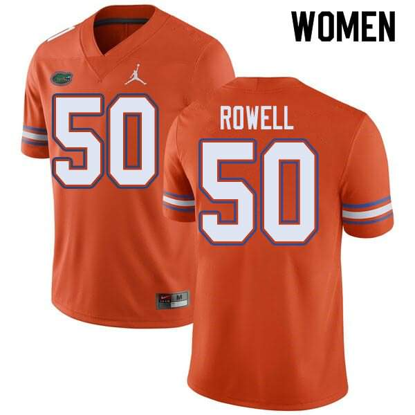 Women's Florida Gators #50 Tanner Rowell Orange Jordan Brand NCAA College Football Jersey MOE711OJ