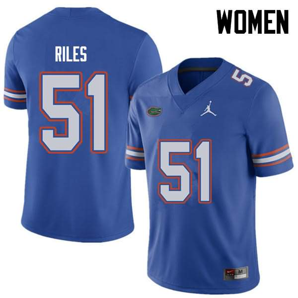 Women's Florida Gators #51 Antonio Riles Royal Jordan Brand NCAA College Football Jersey JEL688CJ