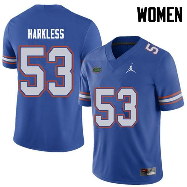 Women's Florida Gators #53 Kavaris Harkless Royal Jordan Brand NCAA College Football Jersey FMI067AJ