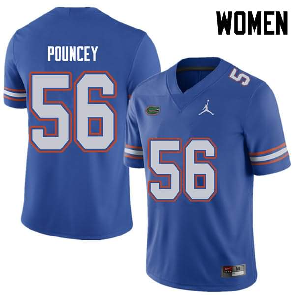 Women's Florida Gators #56 Maurkice Pouncey Royal Jordan Brand NCAA College Football Jersey PPS616KJ
