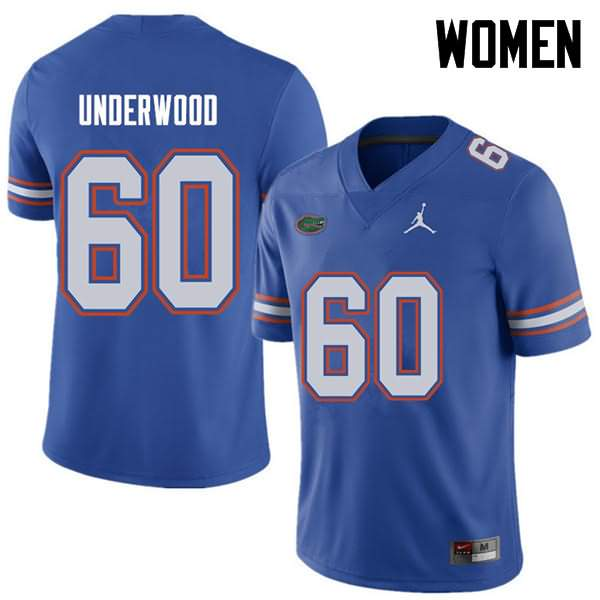 Women's Florida Gators #60 Houston Underwood Royal Jordan Brand NCAA College Football Jersey QBJ371MJ