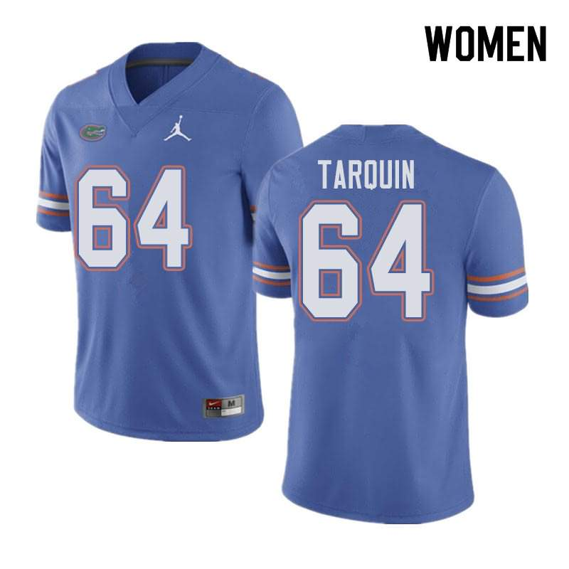 Women's Florida Gators #64 Michael Tarquin Blue Jordan Brand NCAA College Football Jersey QEL184CJ