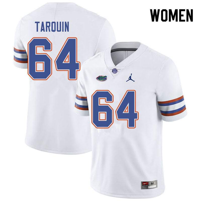 Women's Florida Gators #64 Michael Tarquin White Jordan Brand NCAA College Football Jersey SWY204TJ