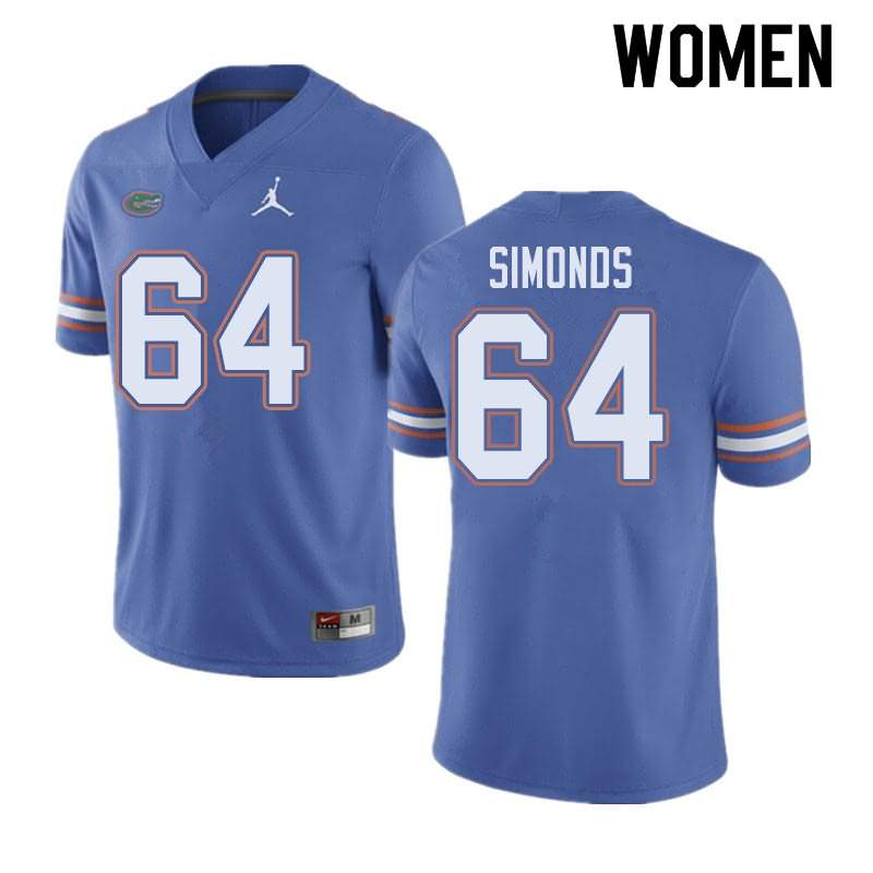 Women's Florida Gators #64 Riley Simonds Blue Jordan Brand NCAA College Football Jersey MZA530PJ