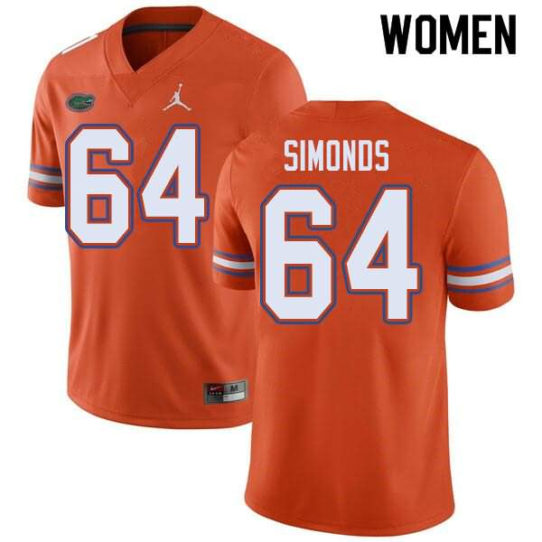 Women's Florida Gators #64 Riley Simonds Orange Jordan Brand NCAA College Football Jersey HCW661SJ