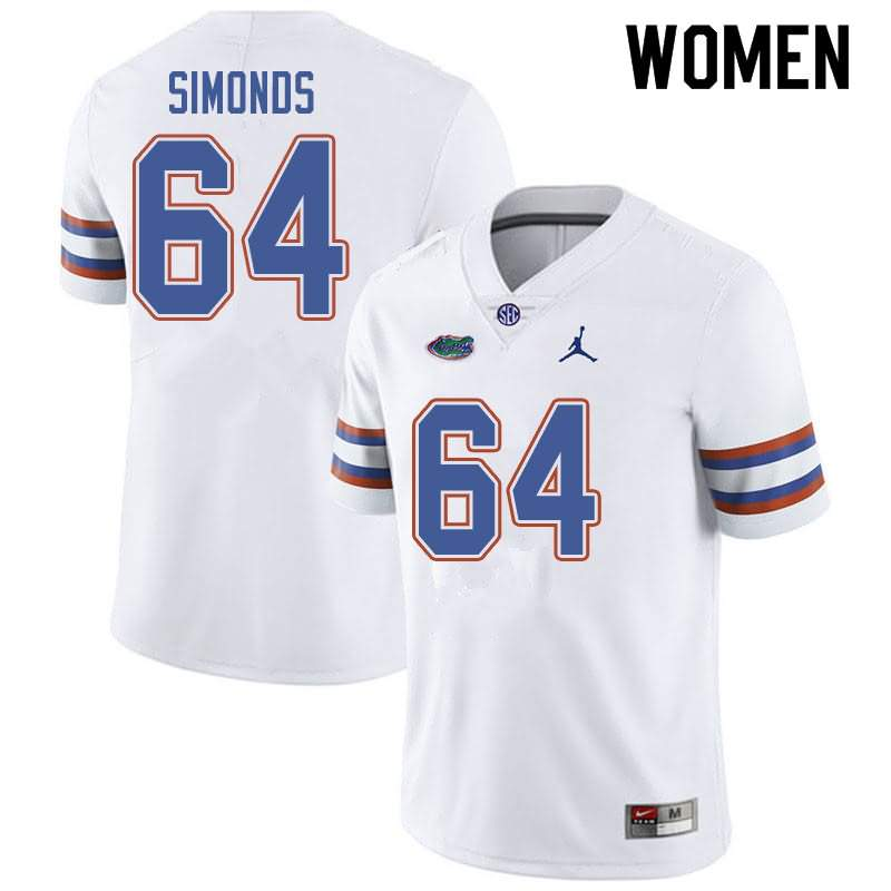 Women's Florida Gators #64 Riley Simonds White Jordan Brand NCAA College Football Jersey KLC076VJ