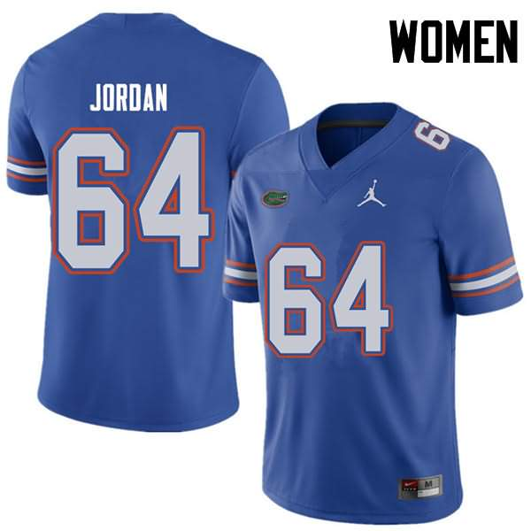 Women's Florida Gators #64 Tyler Jordan Royal Jordan Brand NCAA College Football Jersey YYM767IJ