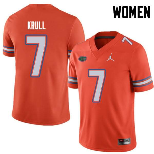 Women's Florida Gators #7 Lucas Krull Orange Jordan Brand NCAA College Football Jersey BMV131IJ