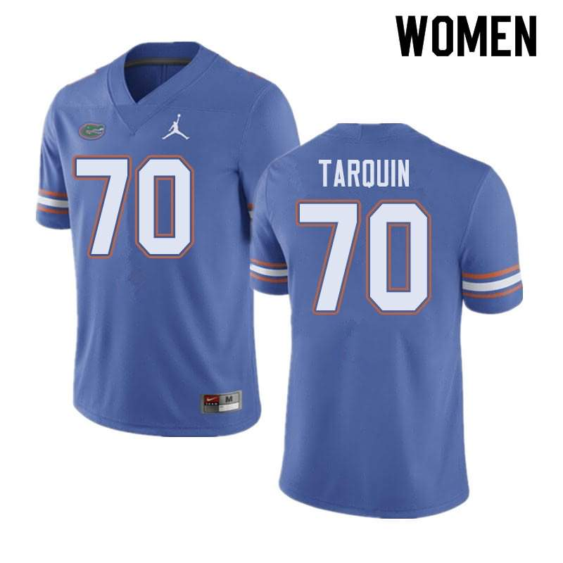 Women's Florida Gators #70 Michael Tarquin Blue Jordan Brand NCAA College Football Jersey SZG823CJ