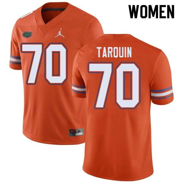 Women's Florida Gators #70 Michael Tarquin Orange Jordan Brand NCAA College Football Jersey EVM080JJ