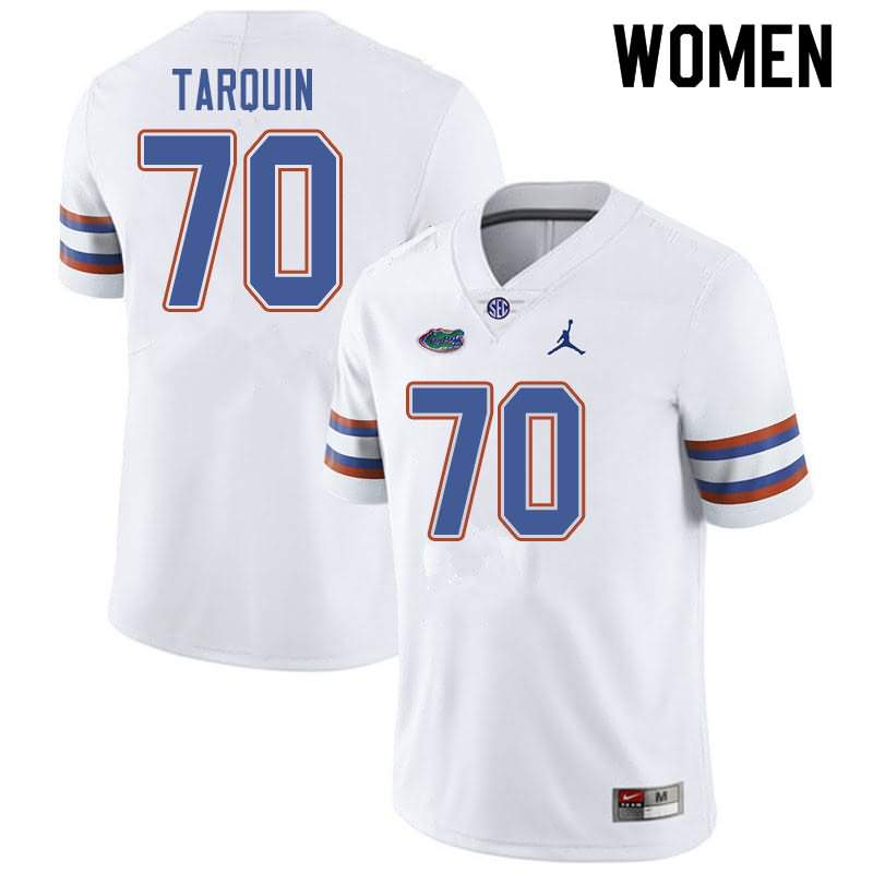Women's Florida Gators #70 Michael Tarquin White Jordan Brand NCAA College Football Jersey QHK873NJ