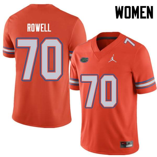 Women's Florida Gators #70 Tanner Rowell Orange Jordan Brand NCAA College Football Jersey HVY130OJ