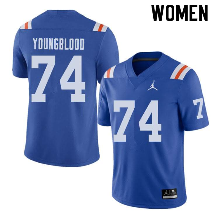 Women's Florida Gators #74 Jack Youngblood Alternate Throwback Jordan Brand NCAA College Football Jersey OBP814WJ