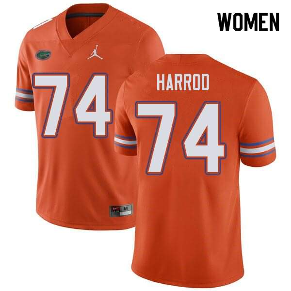 Women's Florida Gators #74 Will Harrod Orange Jordan Brand NCAA College Football Jersey XHL501XJ