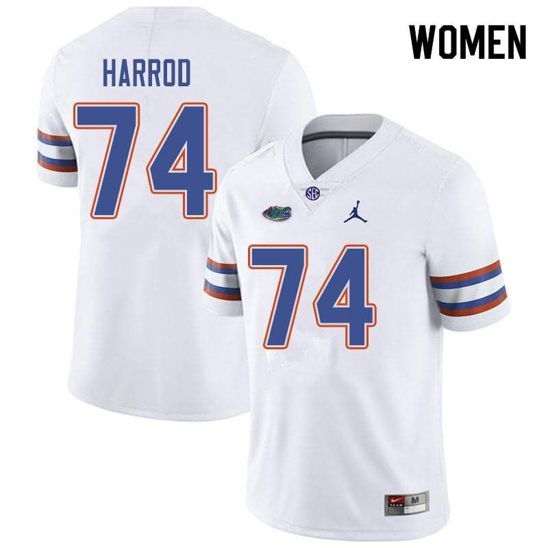 Women's Florida Gators #74 Will Harrod White Jordan Brand NCAA College Football Jersey CCQ518HJ