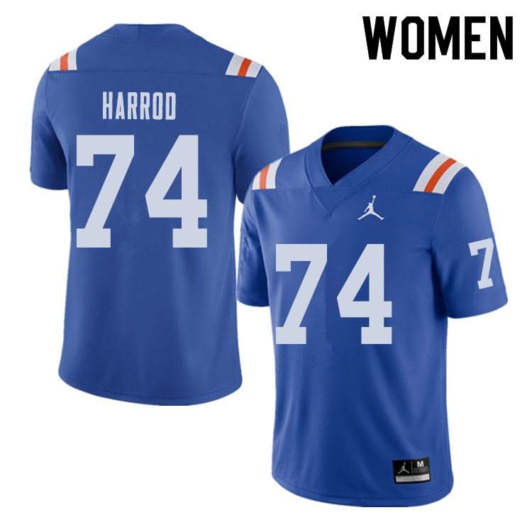 Women's Florida Gators #74 Will Harrod Alternate Throwback Jordan Brand NCAA College Football Jersey QAF105BJ