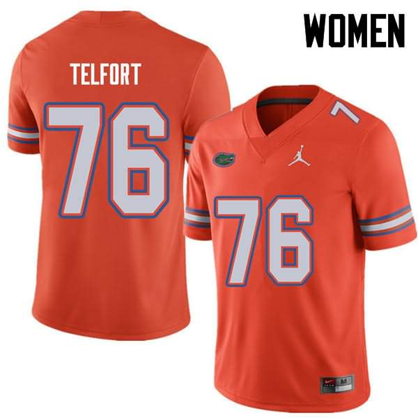 Women's Florida Gators #76 Kadeem Telfort Orange Jordan Brand NCAA College Football Jersey QOG187XJ