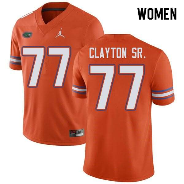 Women's Florida Gators #77 Antonneous Clayton Sr. Orange Jordan Brand NCAA College Football Jersey DRT873QJ