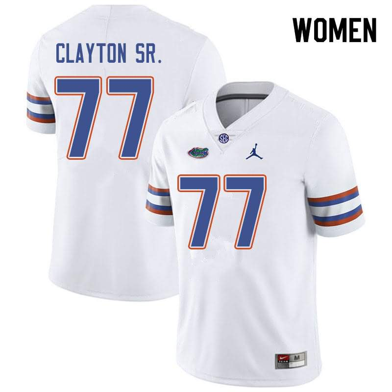 Women's Florida Gators #77 Antonneous Clayton Sr. White Jordan Brand NCAA College Football Jersey SBZ113IJ