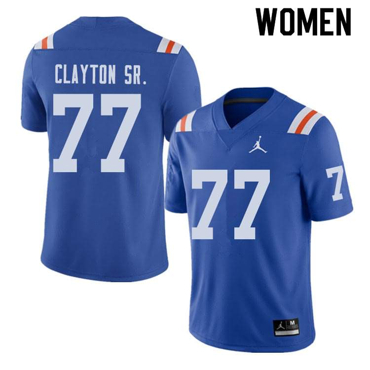 Women's Florida Gators #77 Antonneous Clayton Sr. Alternate Throwback Jordan Brand NCAA College Football Jersey QSA481TJ