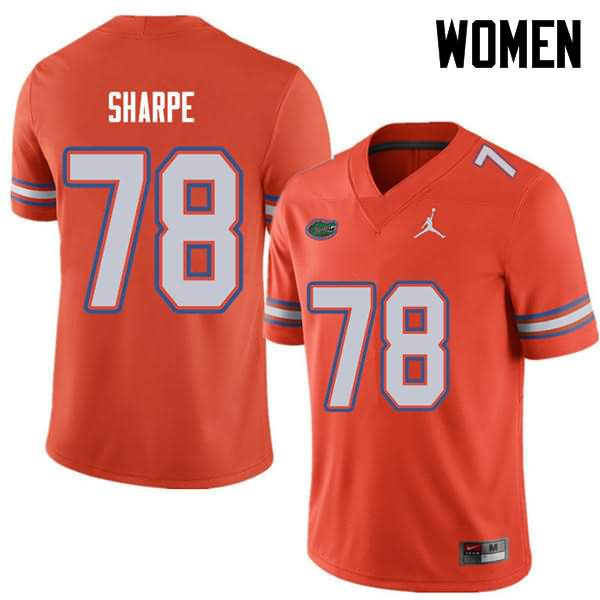 Women's Florida Gators #78 David Sharpe Orange Jordan Brand NCAA College Football Jersey VEZ141GJ