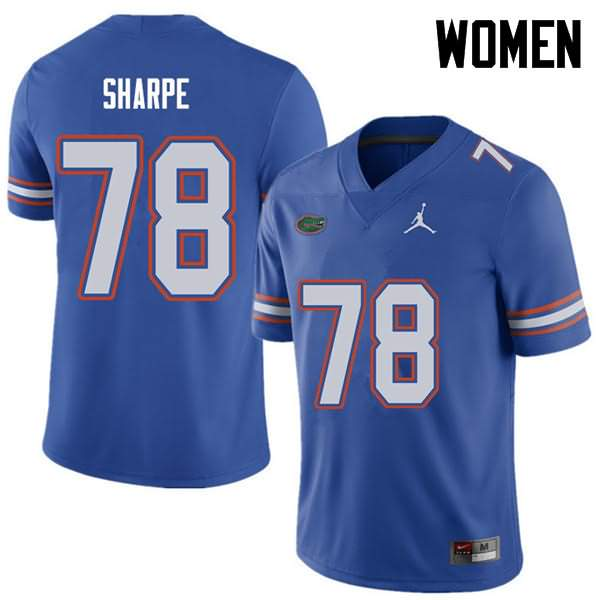 Women's Florida Gators #78 David Sharpe Royal Jordan Brand NCAA College Football Jersey XYC532TJ