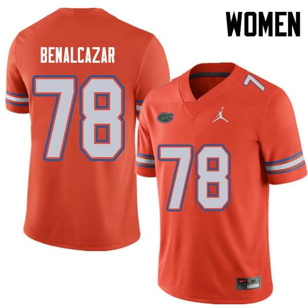 Women's Florida Gators #78 Ricardo Benalcazar Orange Jordan Brand NCAA College Football Jersey BJR040IJ