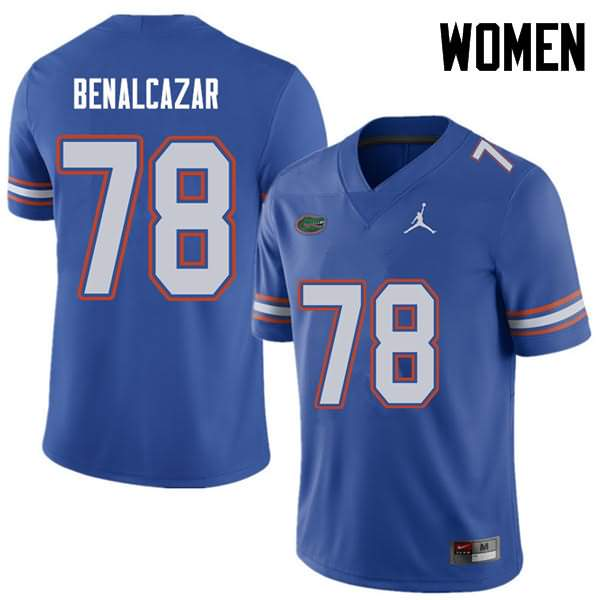 Women's Florida Gators #78 Ricardo Benalcazar Royal Jordan Brand NCAA College Football Jersey MLS803NJ