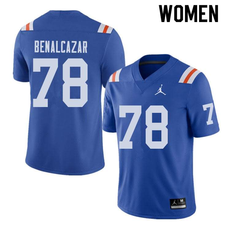Women's Florida Gators #78 Ricardo Benalcazar Alternate Throwback Jordan Brand NCAA College Football Jersey UTT708SJ