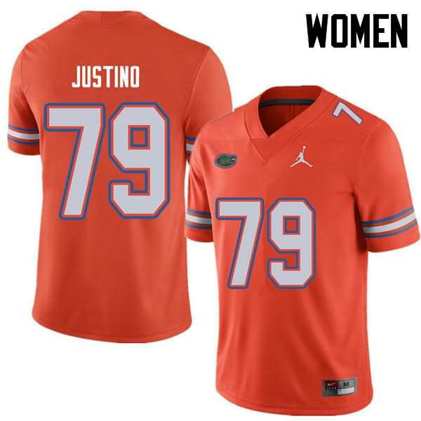 Women's Florida Gators #79 Daniel Justino Orange Jordan Brand NCAA College Football Jersey BOS375VJ