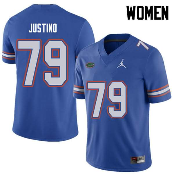 Women's Florida Gators #79 Daniel Justino Royal Jordan Brand NCAA College Football Jersey XMR113EJ