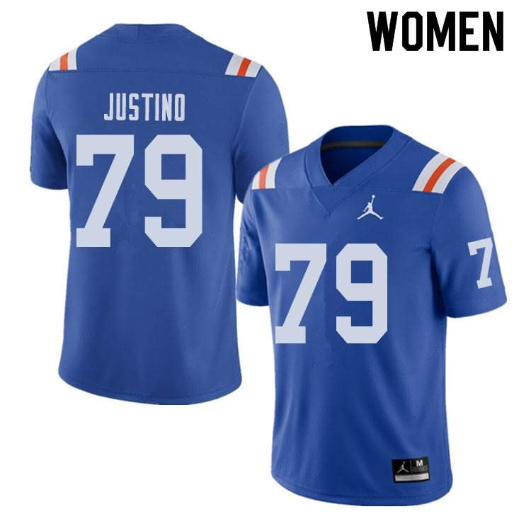Women's Florida Gators #79 Daniel Justino Alternate Throwback Jordan Brand NCAA College Football Jersey PBE642WJ