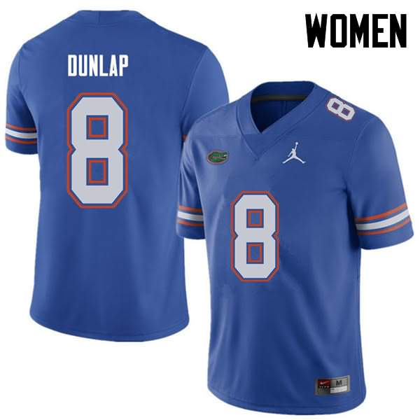Women's Florida Gators #8 Carlos Dunlap Royal Jordan Brand NCAA College Football Jersey WRB124FJ