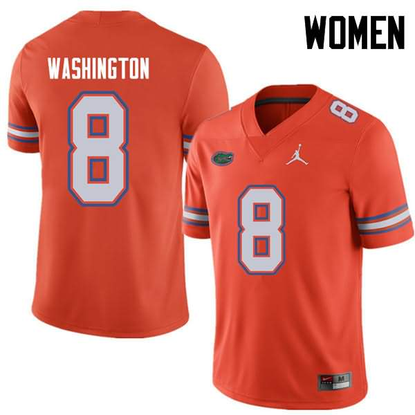 Women's Florida Gators #8 Nick Washington Orange Jordan Brand NCAA College Football Jersey YLU457CJ